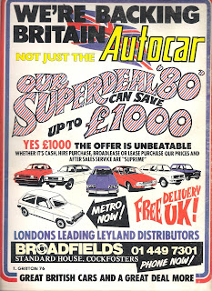 Broadfields advert from Autocar 18 October 1980