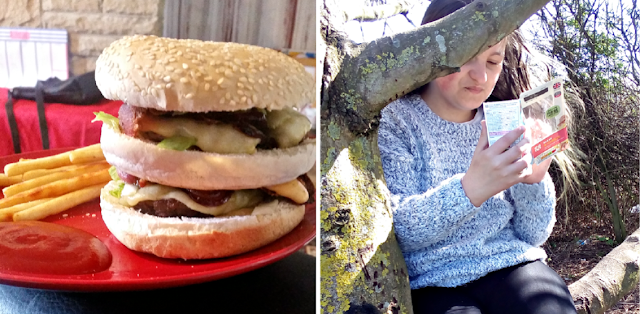 A burger and fries and my youngest sat in a tree