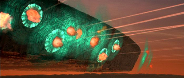 Man-made missiles explode harmlessly against a destroyer's force field during a counterattack in INDEPENDENCE DAY.