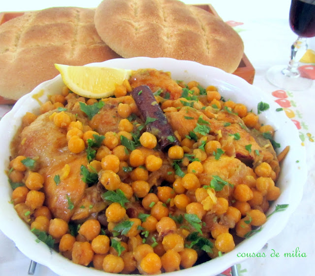 Pollo k´dra con garbanzos