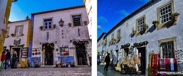 Lojas de artesanato em Óbidos, Portugal