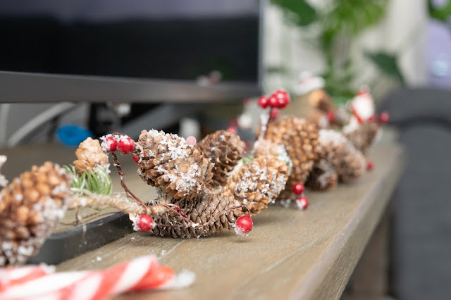 Rustic garland on a TV unit close up