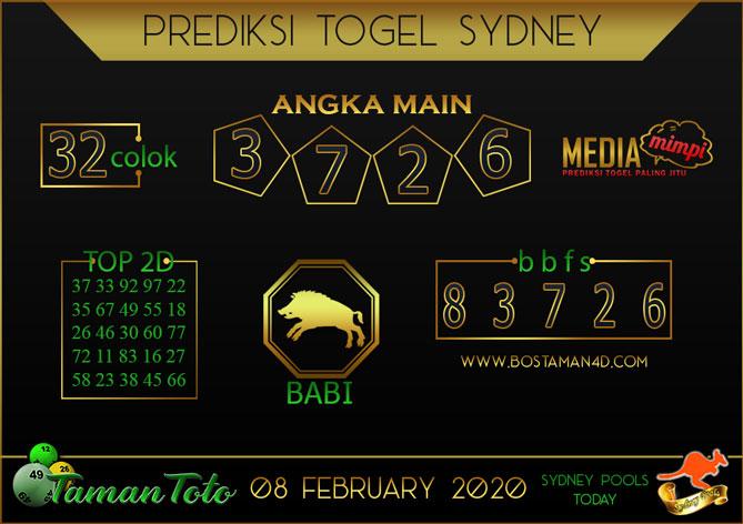 Prediksi Togel SYDNEY TAMAN TOTO 08 FEBRUARY 2020