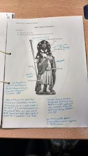 A page showing a figure dressed in medieval pilgrim garb with annotations and description