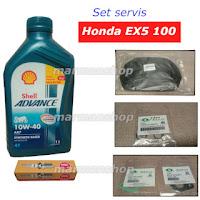 Gmabar minyak Shell AX7, plug NGK, Carburator gasket untuk servis motor EX5