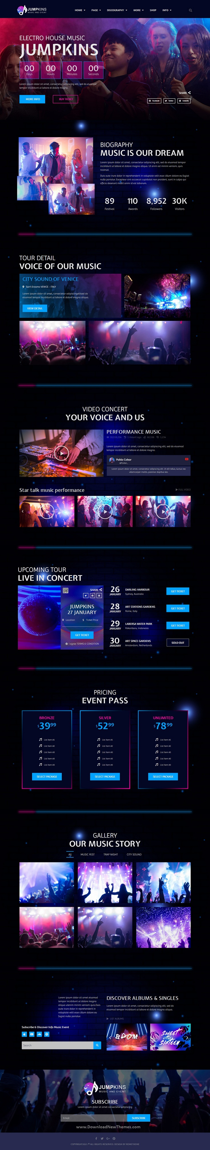Music and Event Elementor Template Kit