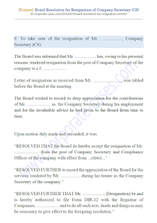 board resolution for resignation of company secretary under companies act 2013