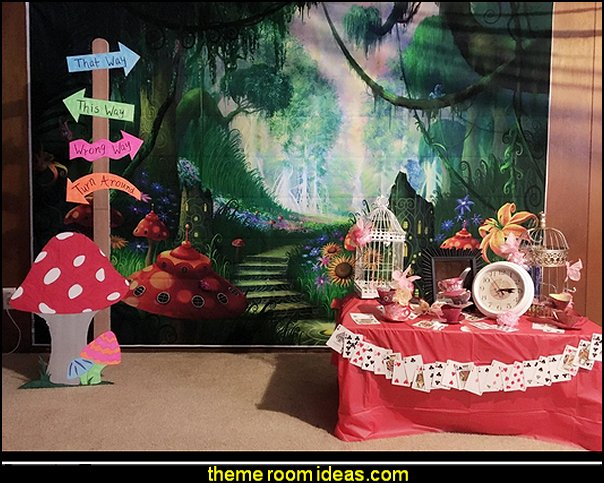 forest path backdrop  Alice in Wonderland party decorating ideas - Alice in Wonderland theme party decorations - Alice in Wonderland costumes -  Alice in Wonderlnd wall decals - Alice in Wonderland wall murals -  tea party theme Alice in Wonderland Tea Party