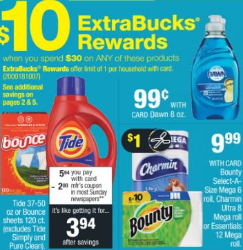 Tide,Charmin,Bounty CVS Deal