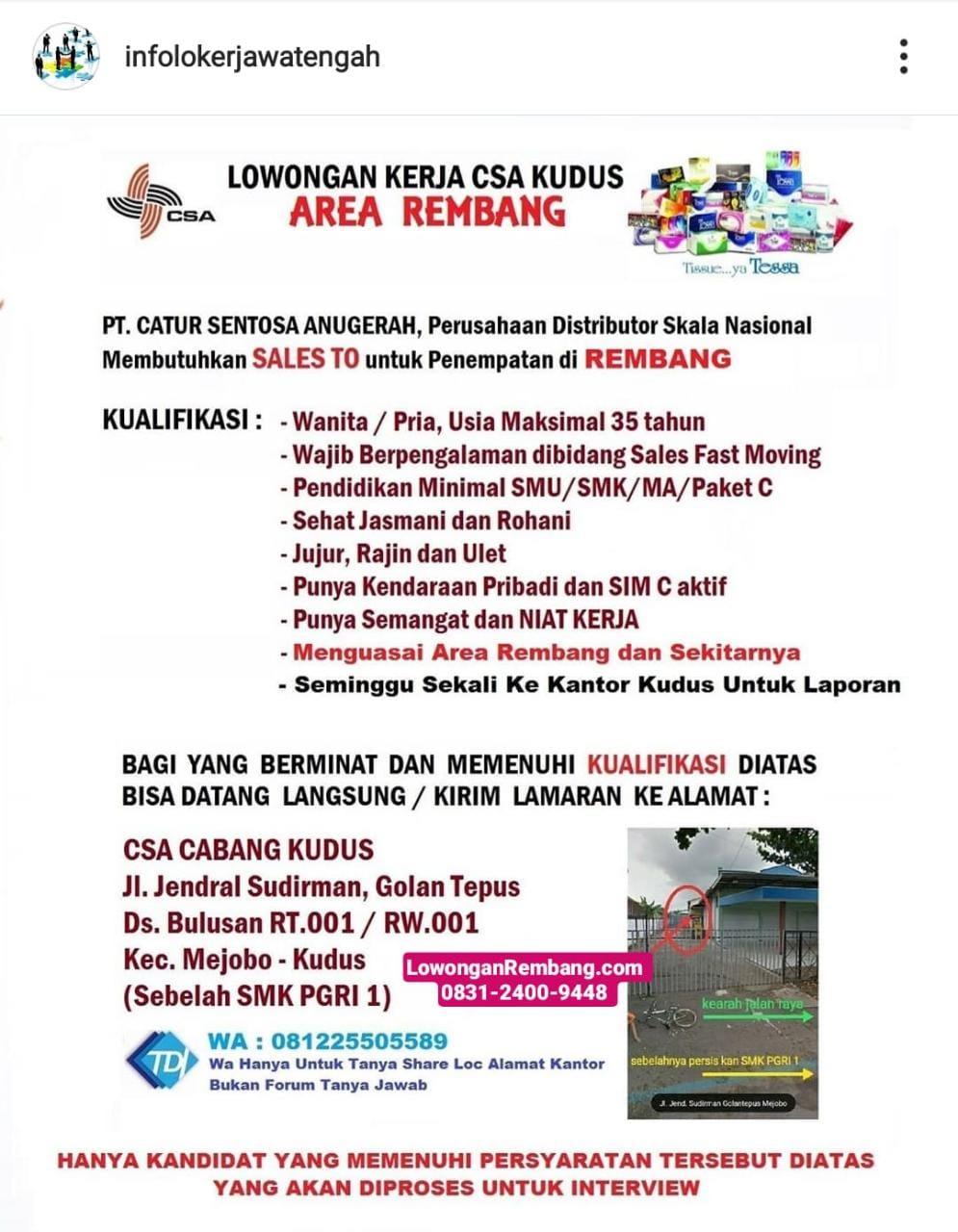 Lowongan Kerja Sales TO PT Catur Sentosa Anugerah Penempatan Rembang