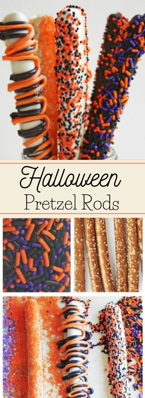 Make These Quick and Easy Halloween Pretzel Rods #desserts #halloween #easy #cakes #snack