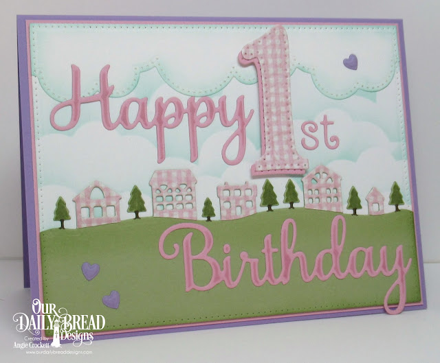 ODBD Custom Dies: Neighborhood Border, Cloud Borders, Pierced Rectangles, Happy Birthday, Large Numbers, Numbers, Clouds and Raindrops; ODBD Shabby Rose Paper Collection, Card Designer Angie Crockett