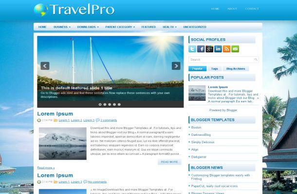 Beach Travel Blue Free Blogger Theme Template Free Css