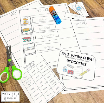 Grocery store list writing activity with scissors and a glue stick