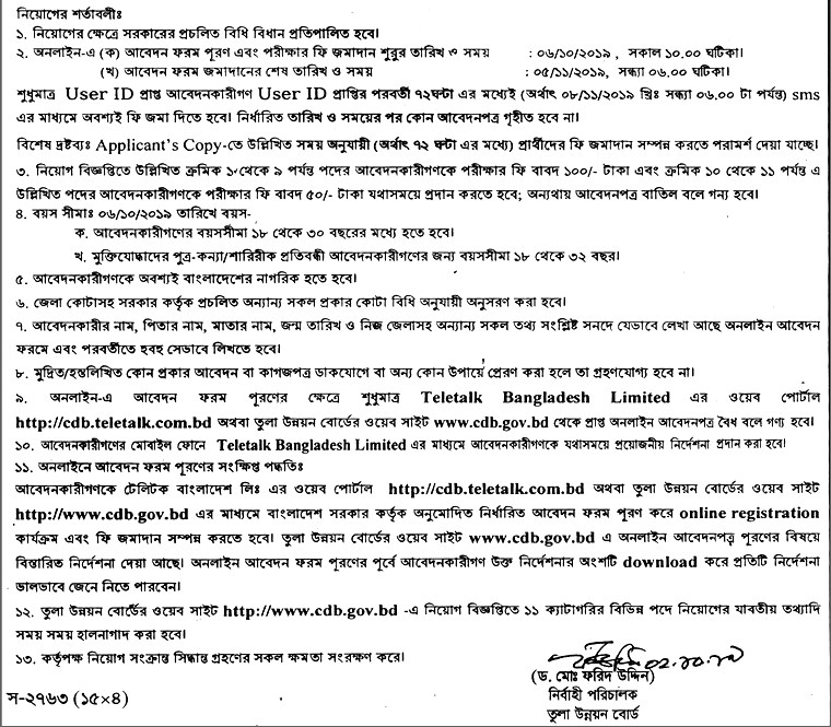 Cotton Development Board Job Circular 2019