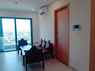 phòng khách căn hộ 1 phòng ngủ diamond lotus riverside