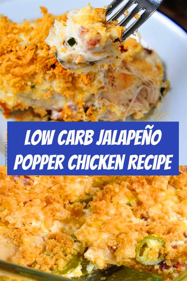 Low Carb Jalapeño Popper Chicken is an indulgent tasting, easy recipe and is keto friendly. The flavor is OUTSTANDING and a family favorite! #lowcarb #jalapeno #chicken #easyrecipe #dinner #keto