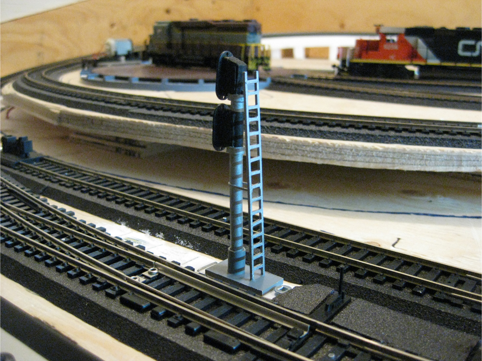 Backside of a scratch built trackside signal showing an access ladder