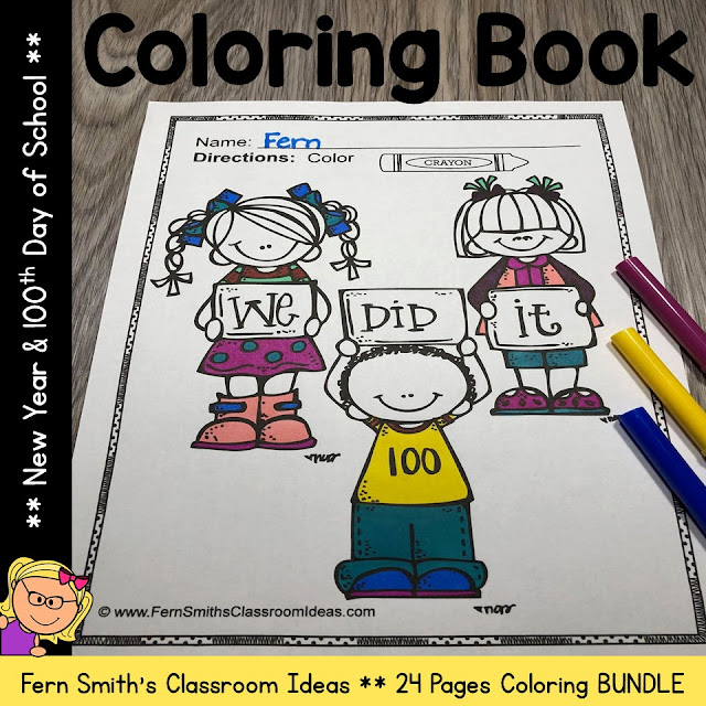 100th Day of School and Happy New Years Coloring Book updated with 10 NEW pages. You can now celebrate 2021 to 2030 with ten years of Happy New Year Pages! Enjoy, Fern