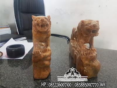 Patung Singa Onix Coklat | Patung Onix Marmer Tulungagung