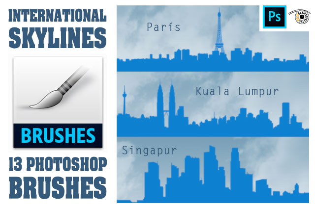 Pack de 13 Pinceles Adobe Photoshop de Skylines Internacionales