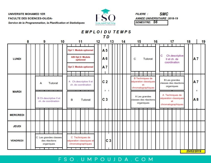 Emplois du Temps des TDs SMC S6 - Session Printemps 2018/2019