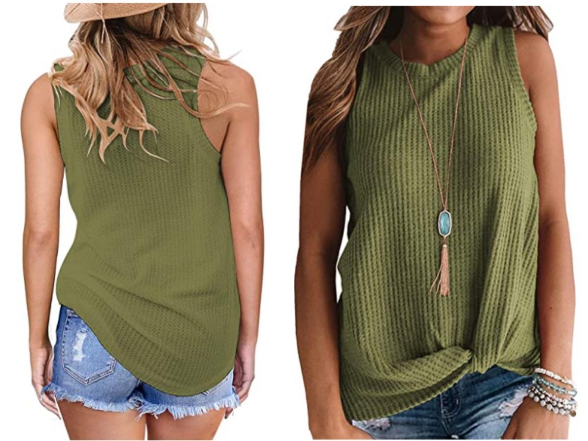 Sleeveless Cute Twist Knot Waffle Knit Shirt