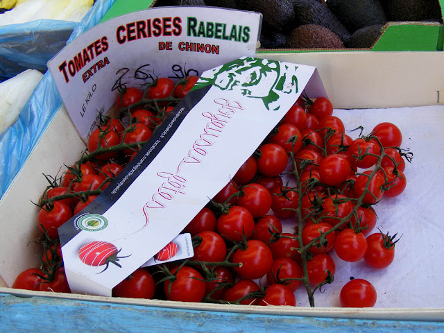 Cherry tomatoes at a market, Indre et Loire, France. Photo by Loire Valley Time Travel.