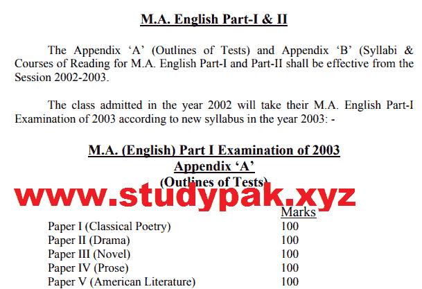 Punjab University MA English part 1 and part 2 syllabus