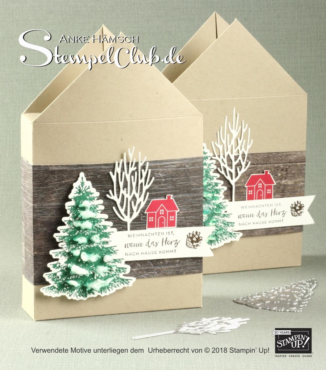 Haus - Verpackung mit dem Stempelset Winterwald mit Anleitung