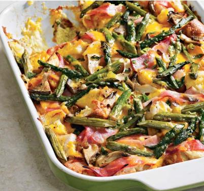asparagus, ham & mushroom strata