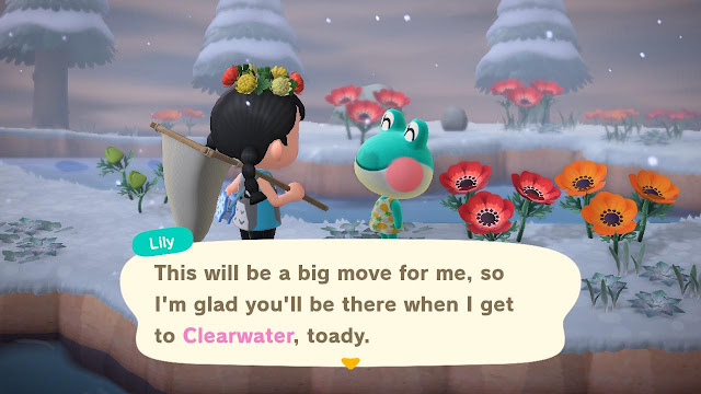 a screenshot from Animal Crossing New Horizon of a character talking to frog called Lily. It is snowing and there are flowers and snow on the ground.
