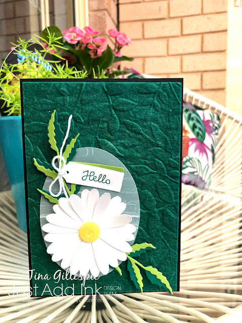 scissorspapercard, Stampin' Up!, Just Add Ink, Varied Vases, Daisy Lane, Poppy Moments Dies, Brick & Mortar EF, Layering Leaves EF, Daisy Punch