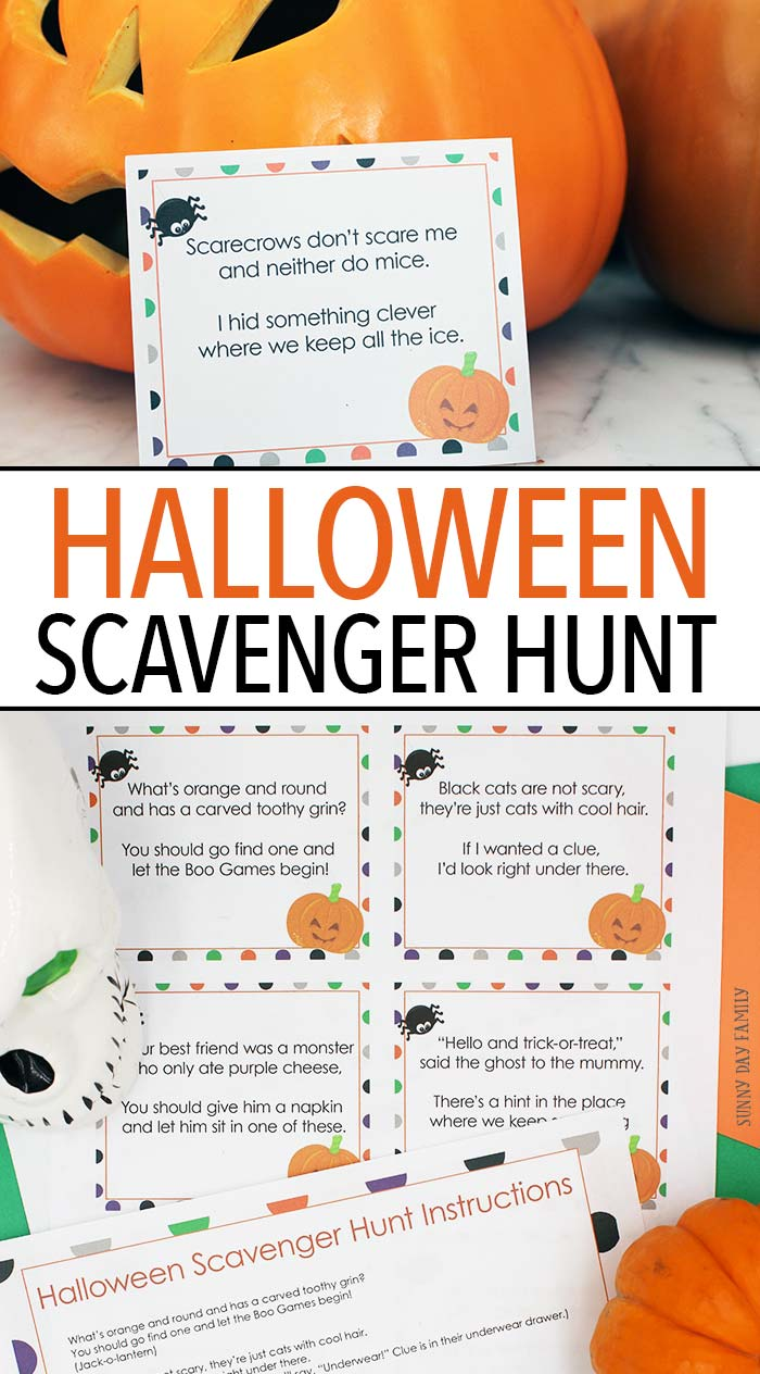 Kids love this Halloween scavenger hunt with printable clues for not too spooky fun! Halloween party games | Halloween for kids | Halloween printables | Halloween activities | Scavenger hunt | Halloween fun | Preschool Halloween