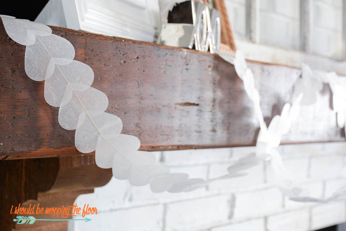 DIY Wax Paper Valentine's Banner | This simple banner is translucent, shimmery, and a fun touch for Valentine's decor.