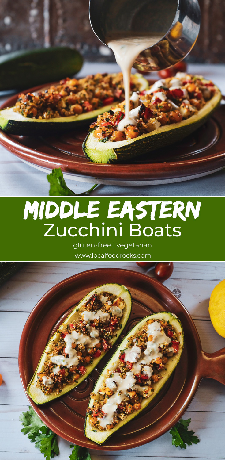 With a hearty dose of zaatar seasoning and a lemony tahini drizzle, these vegetarian stuffed zucchini boats are the perfect way to use up a bountiful zucchini harvest. | Local Food Rocks