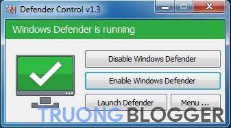 Xanh –  Bật Windows defender