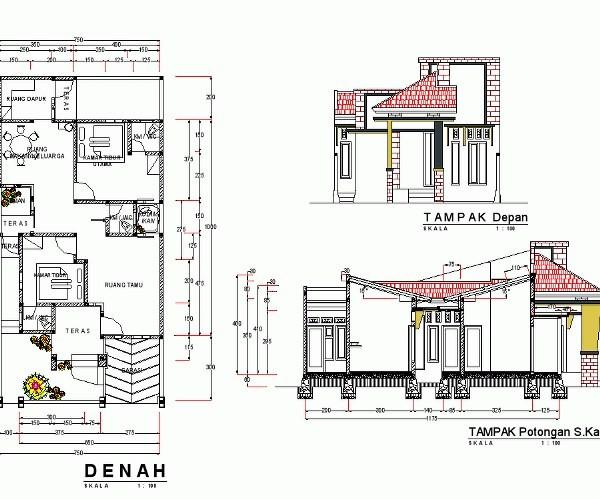 gambar denah rumah sederhana lengkap 2