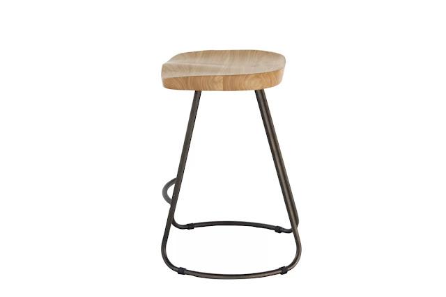 Wood metal U leg saddle stools