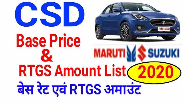 Maruti Suzuki BS6 CSD Base and RTGS price list 2020