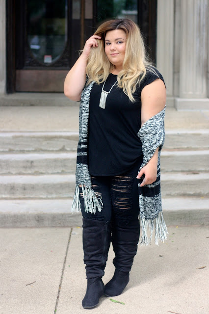 Meijer style, clothes from meijer, natalie craig, natalie in the city, midwest blogger, chicago blogger, fall shawls, wear summer clothes in fall, from summer to fall, ripped black jeans, plus size fashion, plus size blogger