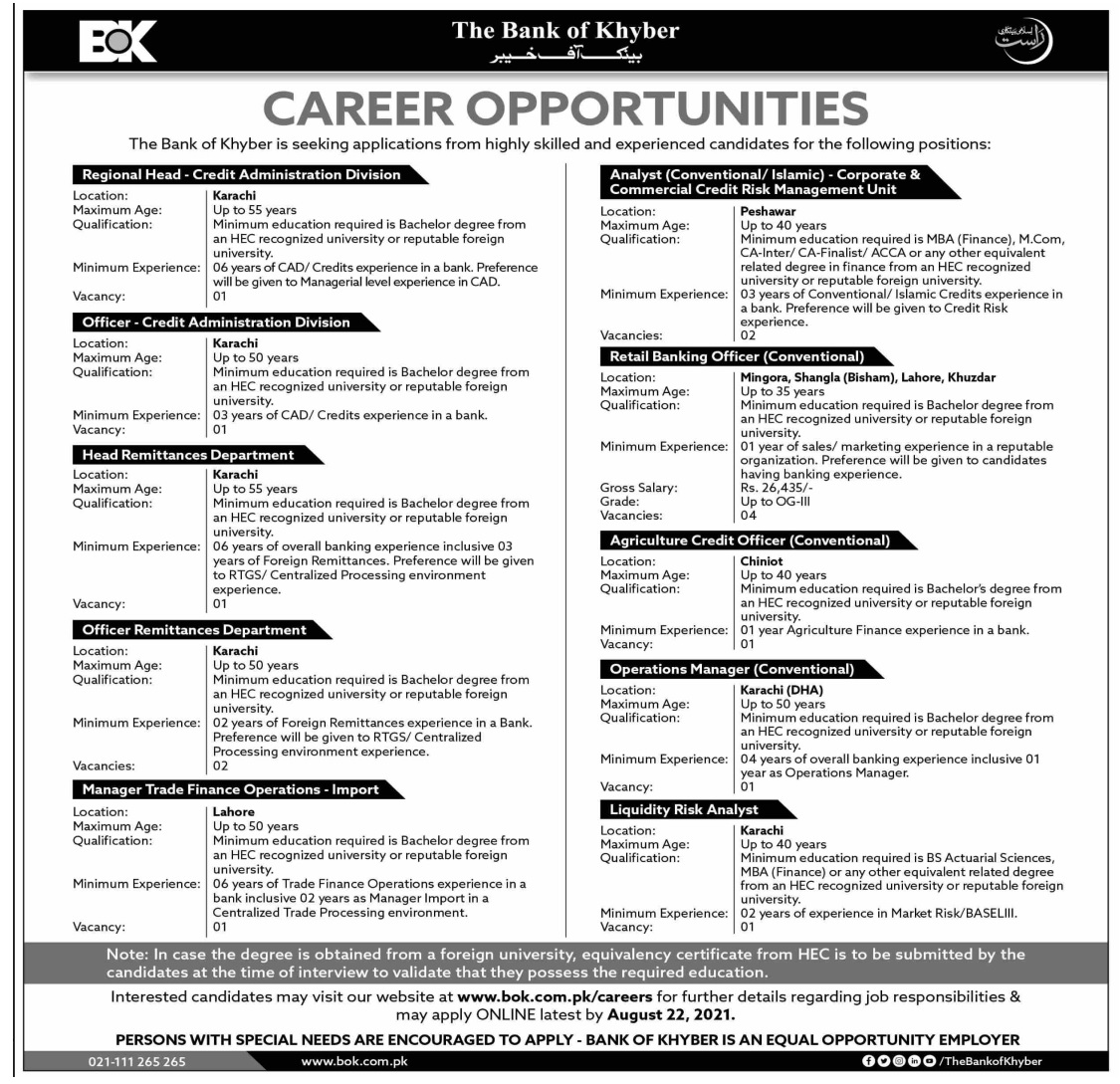 The Bank of Khyber BoK Jobs August 2021
