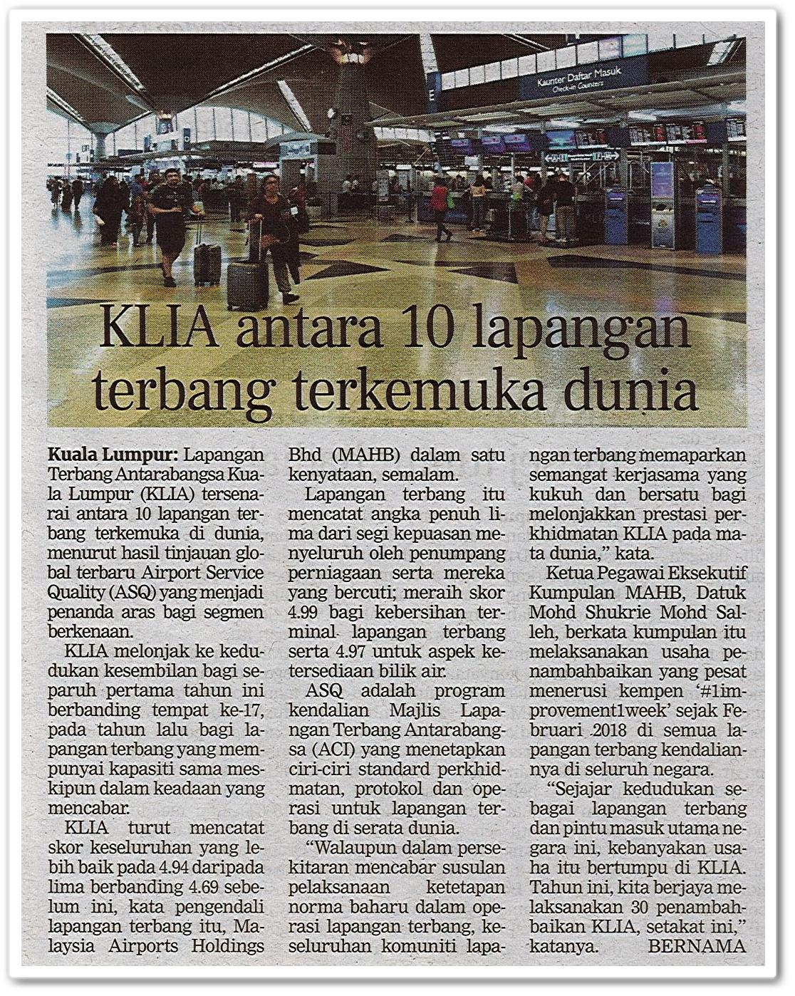 KLIA antara 10 lapangan terbang terkemuka di dunia - Keratan akhbar Berita Harian 11 Oktober 2020