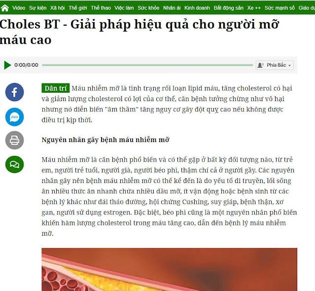 Báo chí đánh giá về Choles BT như thế nào