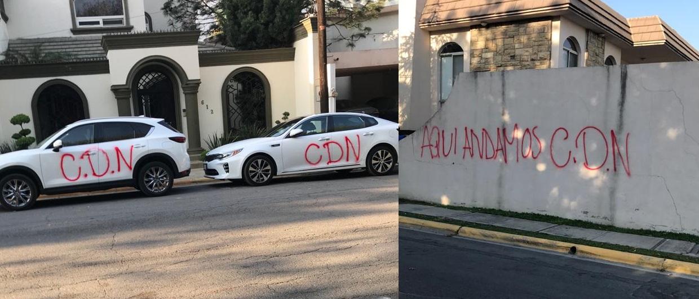 """""""Aqui andamos CDN"""": Cuazitos del CDN llegan de Nuevo Laredo a San Pedro, Nuevo León para pintarrajear carros y paredes (Fotos)"""
