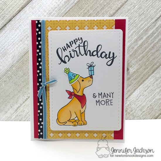 Happy Birthday Dog Card by Jennifer Jackson | Fetching Friendship and Birthday Essentials Stamp Sets and Frames & Flags Die Set by Newton's Nook Designs #handmade #newtonsnook