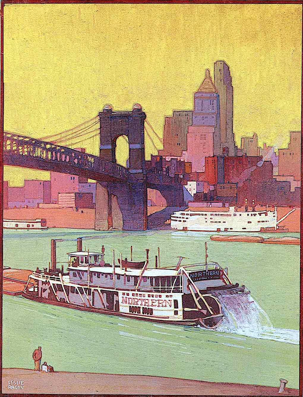 a Leslie Ragan illustration of a 1900s paddlewheel boat on an urban river