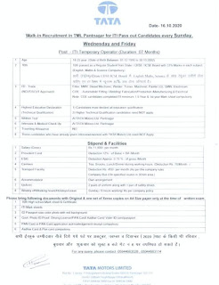 Walk-in Recruitment in Tata Motors Ltd Pantnagar for ITI Pass out Candidates October, November and December 2020 any Sunday, Wednesday and Friday