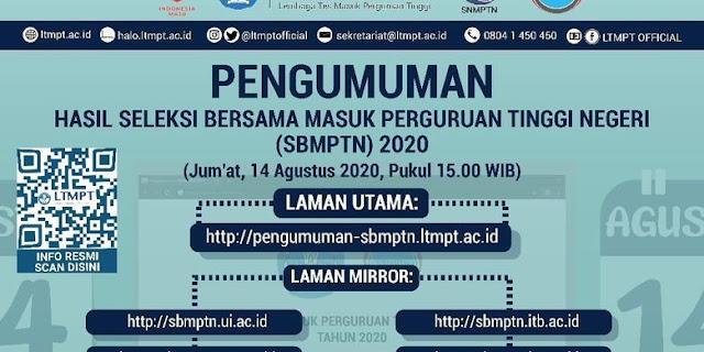 Akses Pengumuman SBMPTN 2020 Dibuka Pukul 15.00 WIB, Jangan Lupa Hal Ini