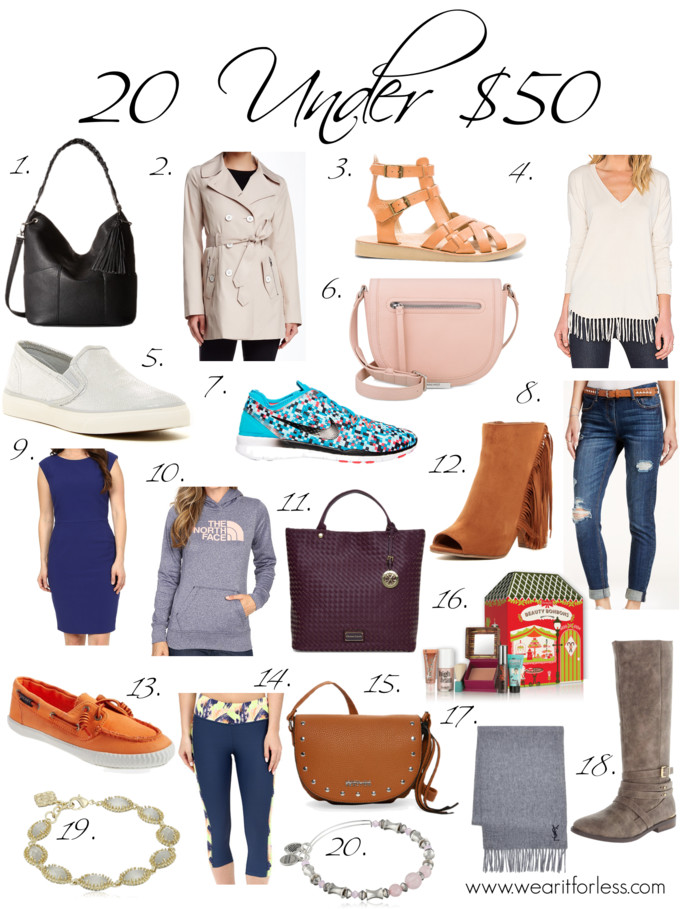 1. Steve Madden BBolt Hobo | 2. Jessica Simpson Double Breasted Trench Coat | 3. Latigo Wow Sandal | 4. Central Park West Provence V Neck Sweater | 5. Sperry Seaside Metallic Slip-On Sneaker | 6. Nine West Dima Crossbody | 7. Nike Women's Free 5.0 TR Fit 5 Print Training Shoes | 8. Vanilla Star Juniors' Belted Ripped Skinny Jeans | 9. Tahari Cap Sleeve Bi-Stretch Sheath Dress | 10. The North Face Fave Half Dome Pullover Hoodie | 11. cxl by christian lacroix Acai Lourmain Woven Tote | 12. Legend Footwear Jamie Peep Toe Fringe Bootie | 13. Sperry Sayel Away Sneaker | 14. Maaji Sunlit Soul Capri Pants | 15. kenneth cole reaction Mustard Mini Rancho Saddle Bag - only $20! | 16.  Beauty Bonbons | 17. Yves Saint Laurent Logo Scarf | 18. Qupid Vance Riding Boots | 19. Kendra Scott Jana Bracelet | 20. Alex & Ani Rose Quartz Bracelet - only $17!